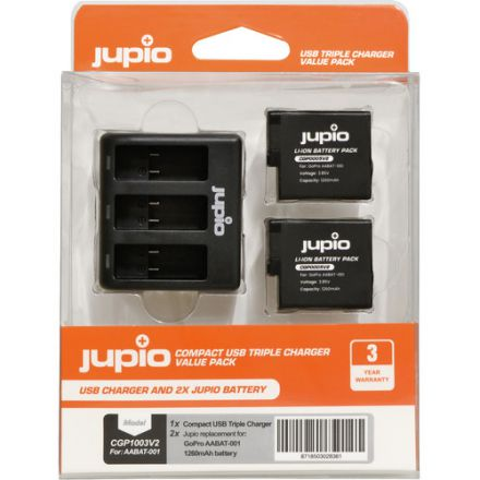 Jupio 2 x Lithium-Ion Battery Packs for GoPro HERO5/6/7/2018 & Compact Triple Charger