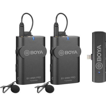Boya BY-WM4 Pro-K4 Ασύρματο σύστημα μικροφώνου 2.4G με ένα δέκτη και δύο πομπούς για συσκευές Ios