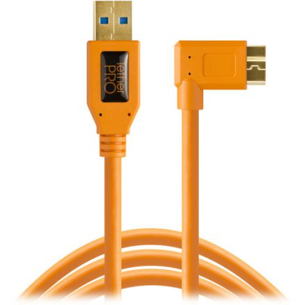 Tether Tools USB 3.0 Type-A Male to Micro-USB Right-Angle (4.6m) (CU61RT15-ORG)