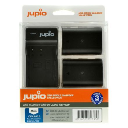 JUPIO KIT 2XBATTERY DMW-BLF19E 1860MAH+USB SINGLE CHARGER(CPA100