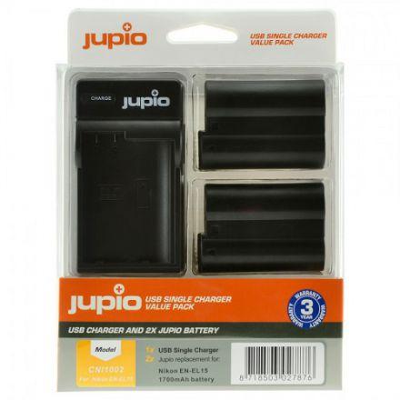 Jupio Kit 2x Battery EN-EL15 1700mAh + USB Single Charger