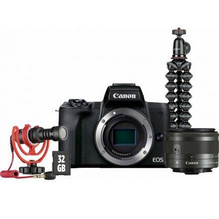 Canon EOS M50 Mark II Mirrorless Digital Camera Kit (EF-M 15-45mm IS STM + Vlogger Kit) (Black)